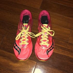 Bright lightweight Saucony running shoes